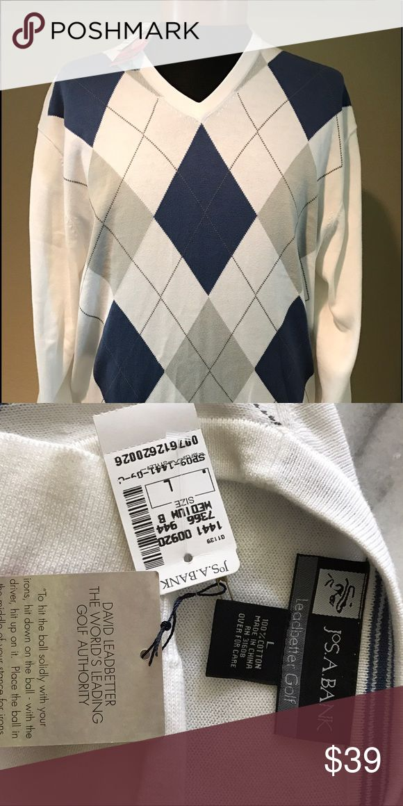 Jos. A. Bank Golf Sweater Light-weight 100% cotton golf sweater from the David Leadbetter Collection. Jos A Bank Sweaters V-Neck