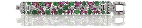 Tutti Frutti bracelet in diamonds, emeralds and rubies, Cartier, New-York, 1928
