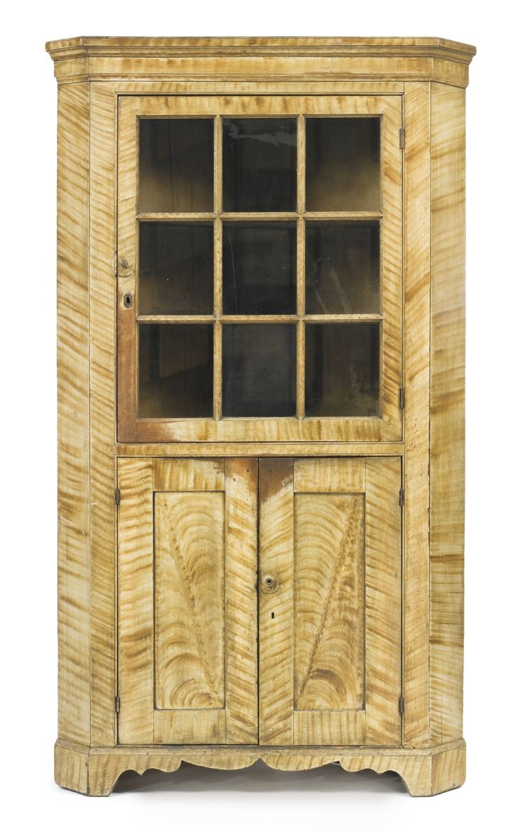 Federal Grain Paint Decorated Pine And Poplar Corner Cupboard, New England,  C.