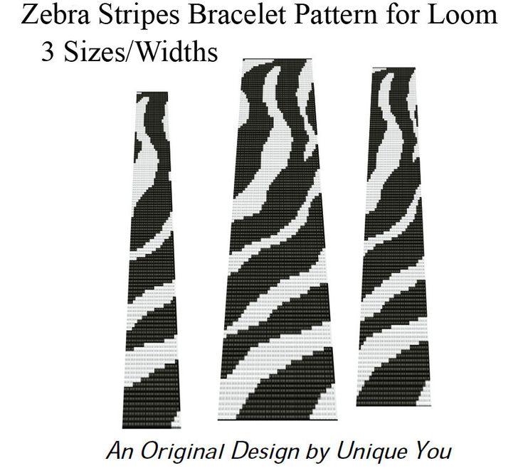 Beading Patterns Loom Bracelet Square Stitch - Fun Zebra Animal Print- 3 for 1 Special PDF