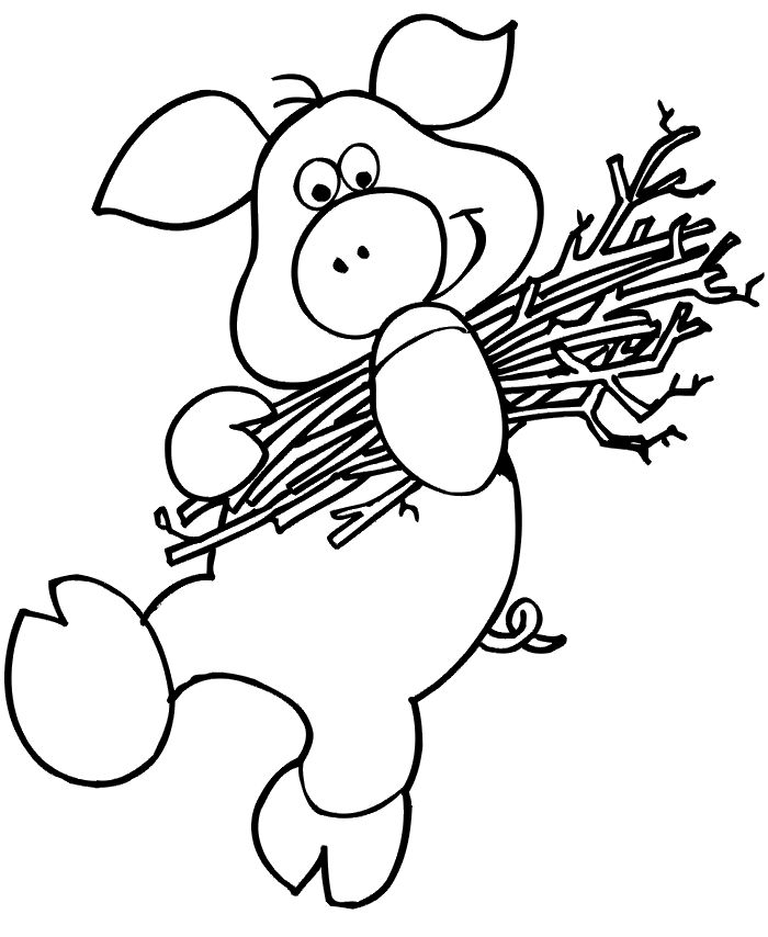 The Three Little Pigs Coloring Page Activity Of One Pig Carrying Sticks Is A Wonderful Printable For Children Who Enjoy