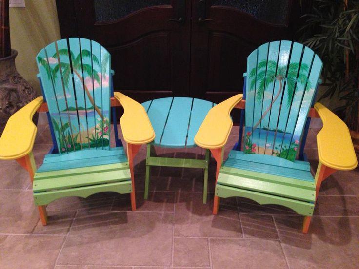 Hand Painted Adirondack Chairs Beach Ideas Adirondack