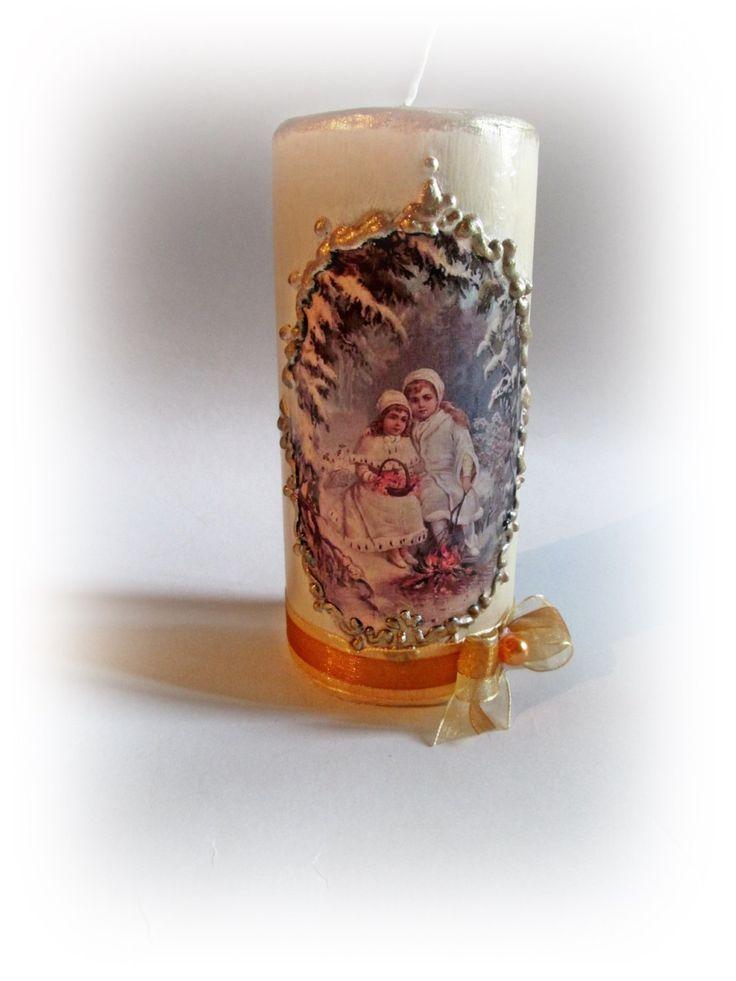Ivory Christmas Candle. Vintage Christmas Label. Christmas Decorations…