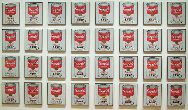 Andy Warhol: Campbell Soup Cans Series. andy warhol campbell's soup can paintings on display