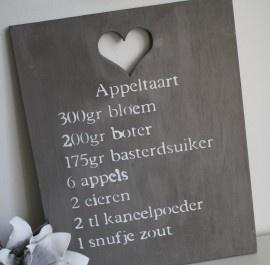 Houten bord `Appeltaart` leem