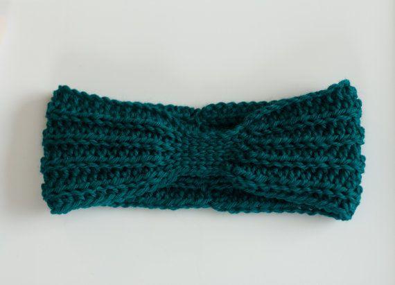 Knit Turban headband teal headband blue green by PreciousLambKnits