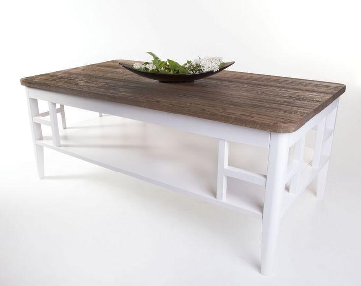 Köp - 4390 kr! Alaska soffbord 130 - Rustik ek. Elegant soffbord med en iögonfallande design på de vitlackerade benen