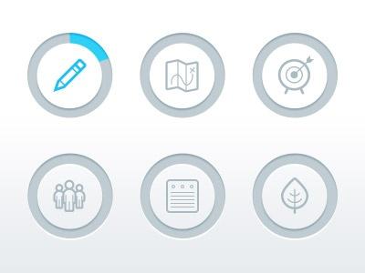 Icons, progress bars, status bars