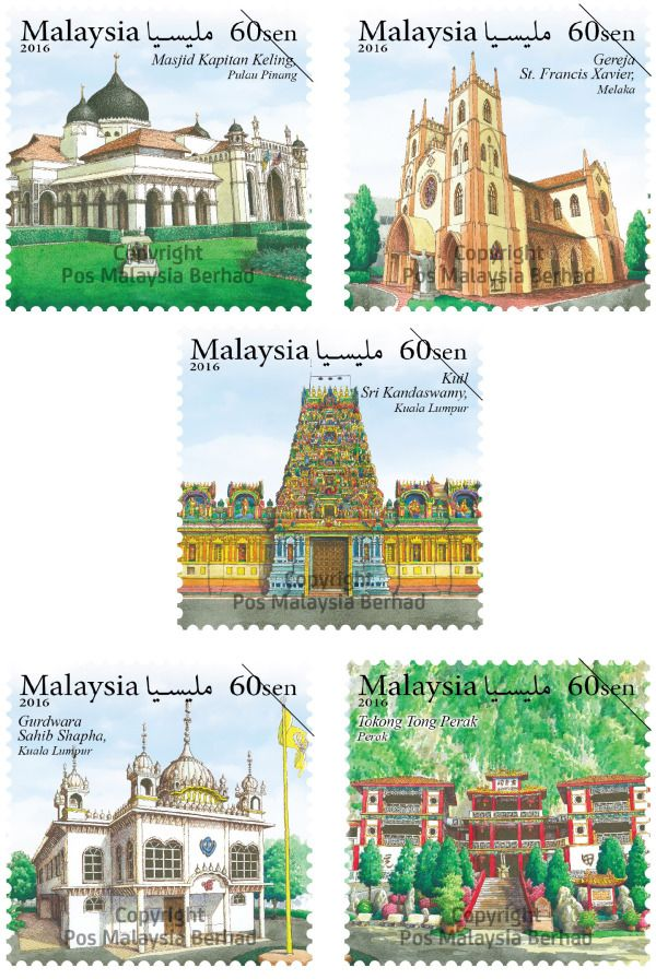 "Pos Malaysia launched ""Places of Worship stamps"" showcasing the well-known places of worship of various faiths in Malaysia."