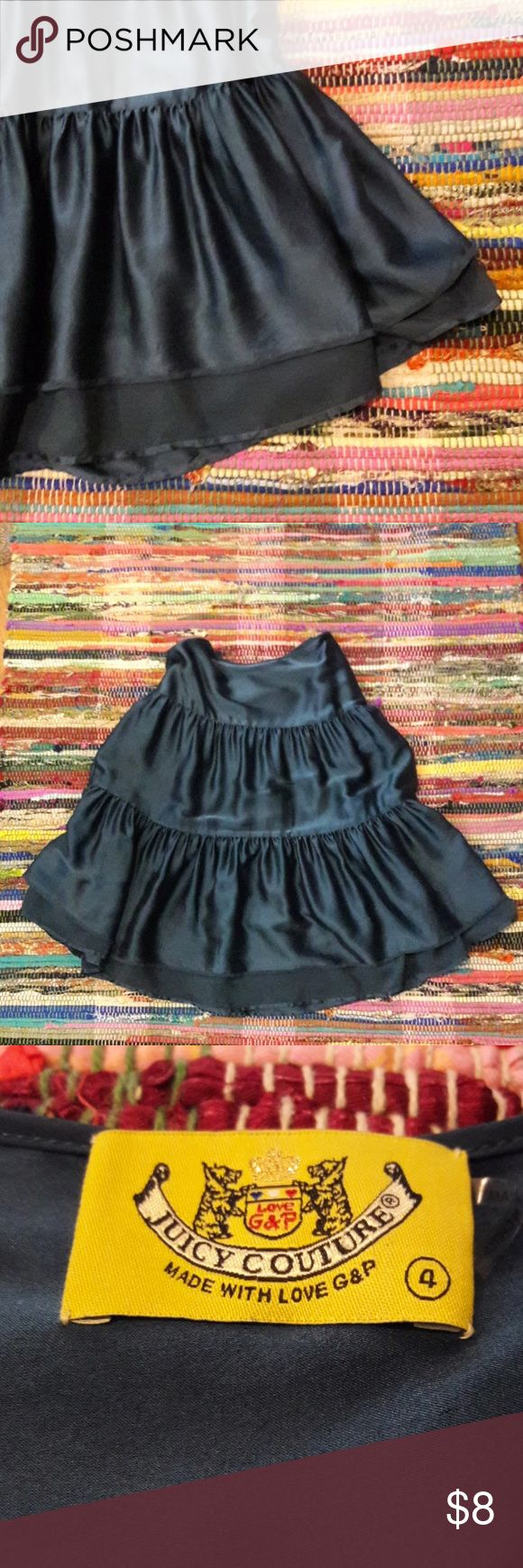"""Dark Boho Juicy Couture Sz 4 Skirt Mori Gorgeous, tiered and layered dark jewel toned teal Boho skirt. Lots of swish and a chiffon layer that peaks out from under. Great for grunge, mori or whatever you please! Winter, Spring, Fall, Summer! Excellent condition! Always romantic! Low slung waist measures 34"""", side zip and hook with a 25"""" length! Smoke and pet free! Bundle your hearts out and save! Xo Juicy Couture Skirts Midi"""