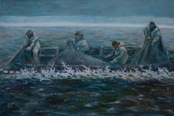 Oil Painting Fishermen at the Sea Original Artwork by myhArt4you