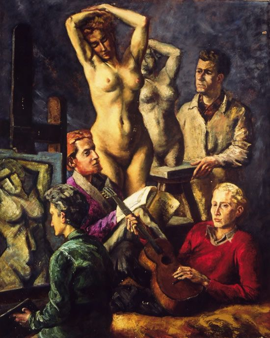 """""""L'Hommage à la femme"""", par Conrad Kickert. Représentant un sculpteur (Jean-Theobald Jacus), un peintre (Serge Rezvani), un écrivain (Jacques Lanzmann), Chris de Moor (représentant le peintre) ; le jeune Samuel Muller (9) célébrant sa beauté sur les cordes de sa guitare."""