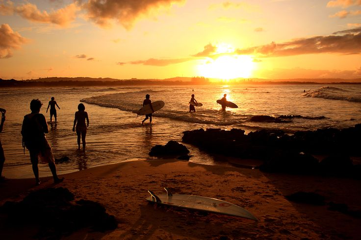 Surf. Sunset. The Pass, Byron Bay.