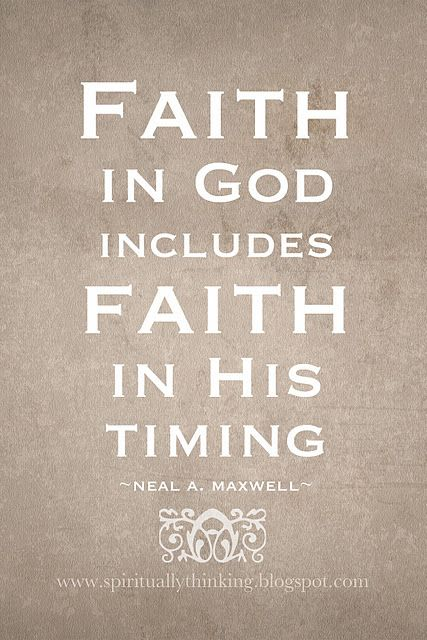 Hardest thing to realize. It's not your timing. It's God's timing.