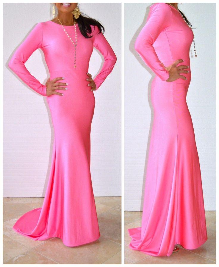 Pink long sleeved maxi dress