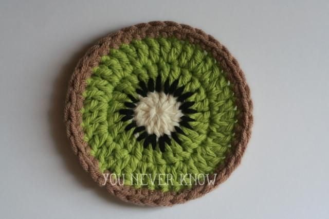 25 Fruit and Vegetable Crochet Patterns to Celebrate Healthy Eating: Kiwi Coasters Free Crochet Pattern