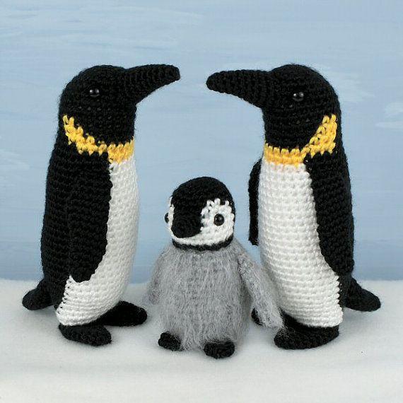 Emperor Penguin Family adult & baby amigurumi PDF by PlanetJune, $8.75