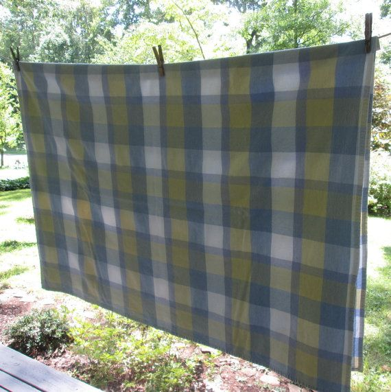 Vintage Plaid Cotton Tablecloth   Blue White Yellow Plaid Tablecloth