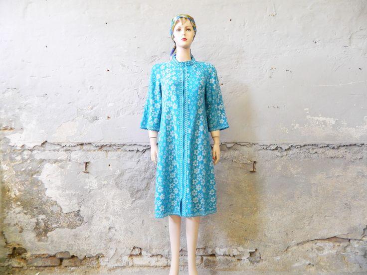 hauskleid vintage kleid 60er jahre kleid blau weiss kleid
