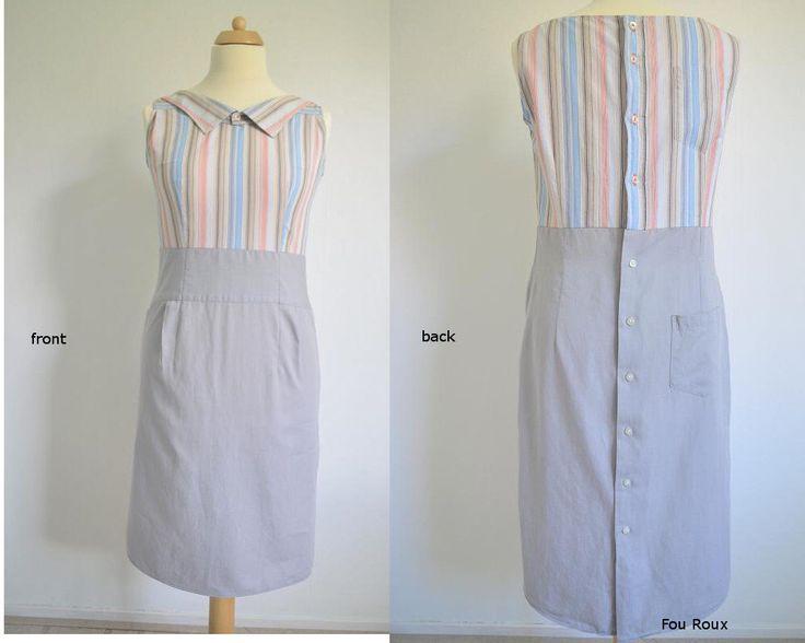 RECONSTRUCTED jurk van 2 herenoverhemden,streep-grijs, ontwerp&handgemaakt door STUDIO HENKE (size 38)  door StudioHenke op Etsy https://www.etsy.com/nl/listing/200559789/reconstructed-jurk-van-2