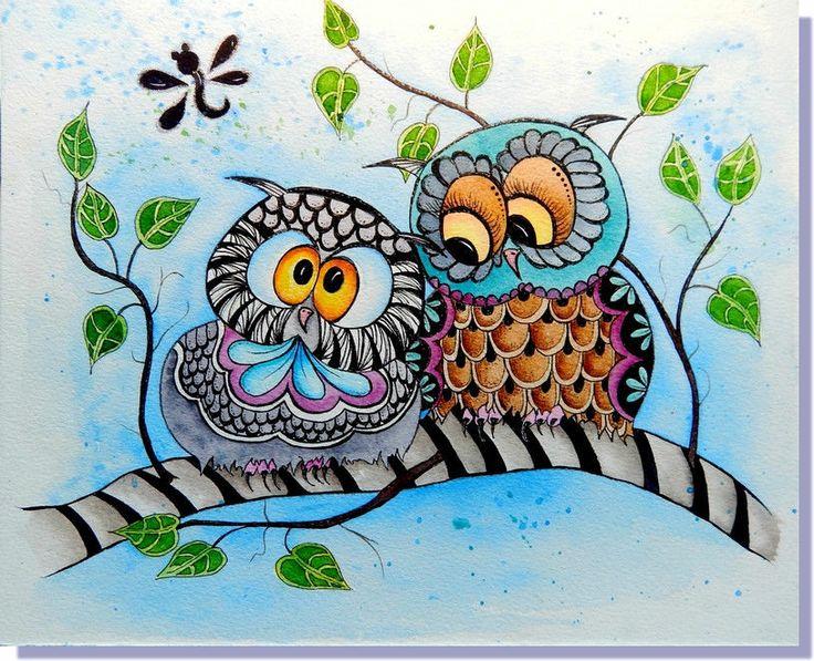 "ORIGINAL Watercolor Ink Zentangle Owls Bird Glittery Art 8x10"""