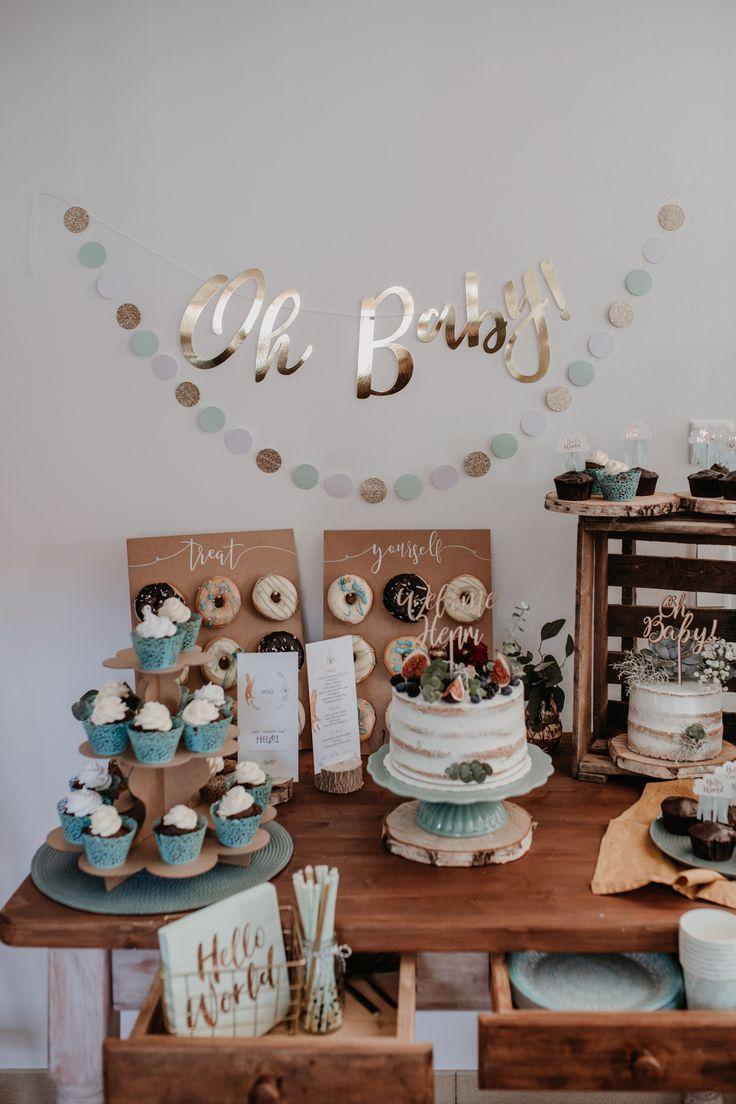 Babyparty Tischdeko Tischdekoration Babyparty Boho Woodland Süßer Tisch Torte Kuchen Oh Baby