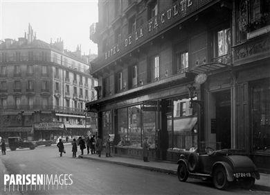 Hôtel de la Faculté et librairie Gibert. Paris, rue Racine (VIème arr.), vers 1925.