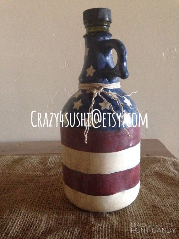 Hand Painted Wine Jug Bottle American Flag by crazy4sushi on Etsy