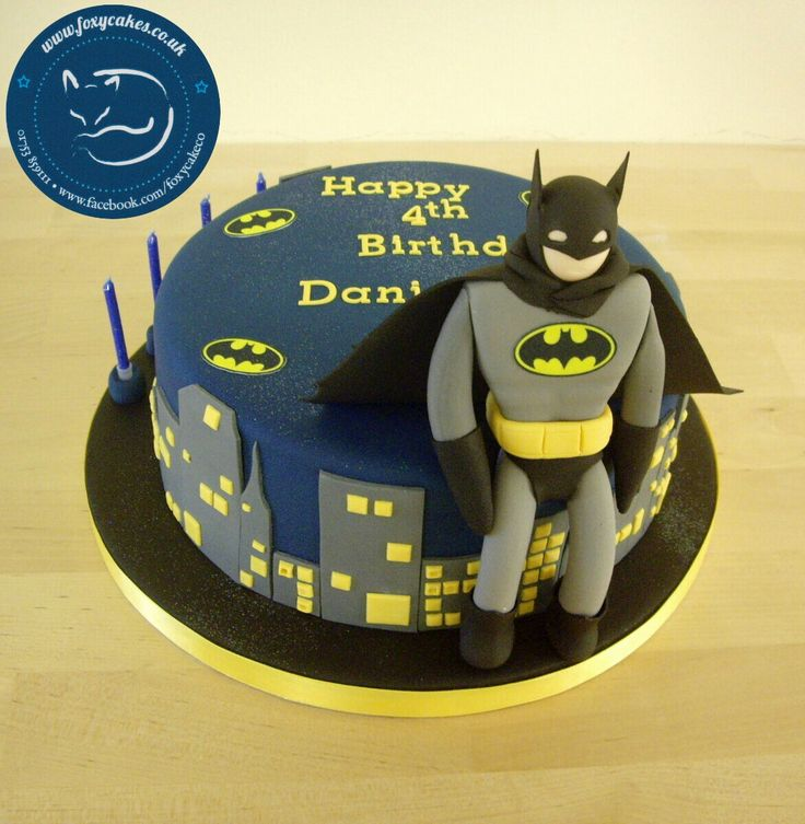 Batman Superhero cake, made by The Foxy Cake Company!