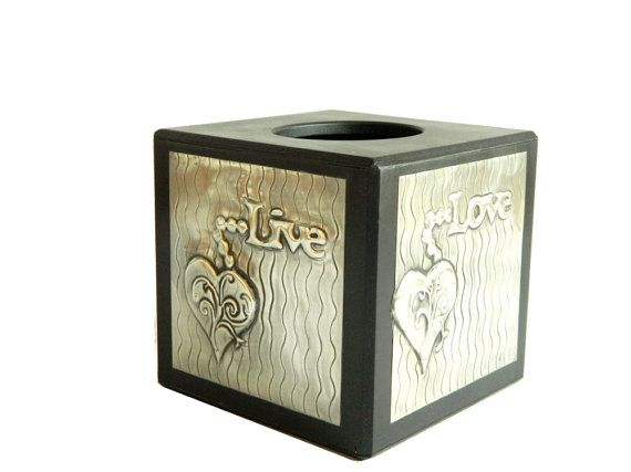Tissue Box Cube Live Love Laugh Black by Loutul on Etsy, £28.00