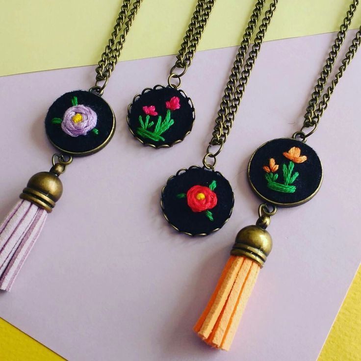 New!!! Hand embroidered flower necklaces now in shop! Only one o each available 😊😊