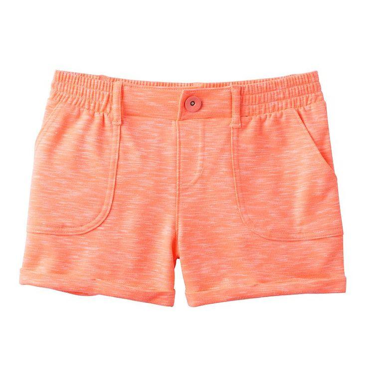 Girls 7-16 SO® French Terry Slubbed Soft Shorts, Girl's, Size: 12, Brt Orange