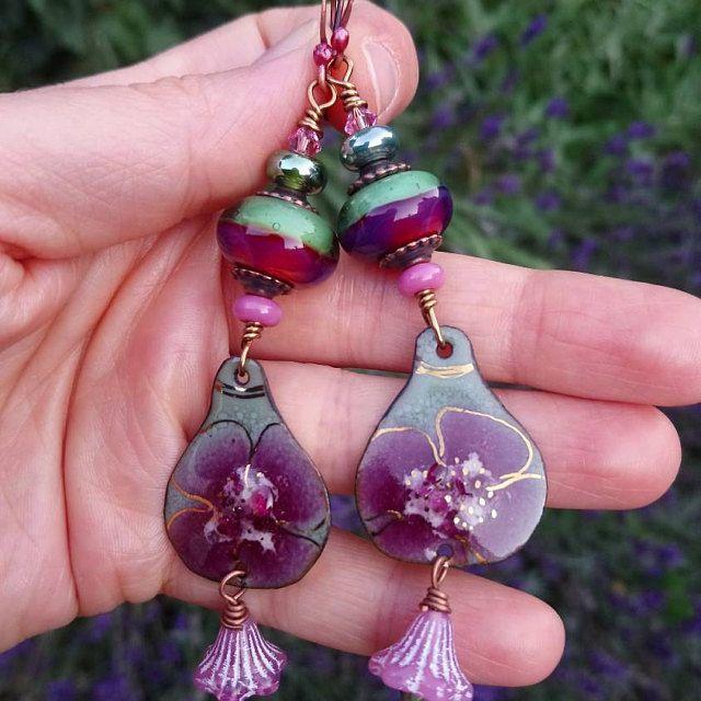 Bird earrings,Floral heart earrings,Heart earrings,Flower earrings,Enamelled earrings,Lampwork earrings,Romantic earrings,OOAK earrings,Boho