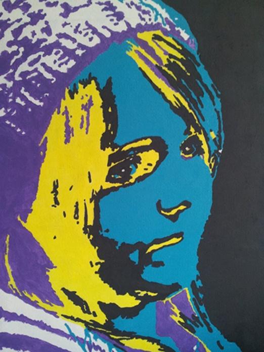 Maureen (13 jr.) geschilderd in pop-art stijl op een doek van 30 X 40 cm. Maureen koos de kleuren van haar slaapkamer.