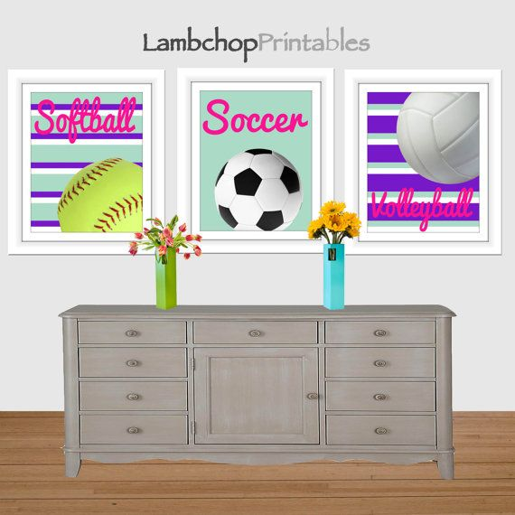 Girl Sports Printable Art, Softball Print, Soccer Print, Volleyball Print,  Girls Room