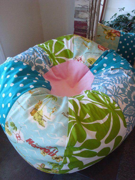 Hawaiian Vintage Style Tropical Beach Bean Bag Chair by Paniolo