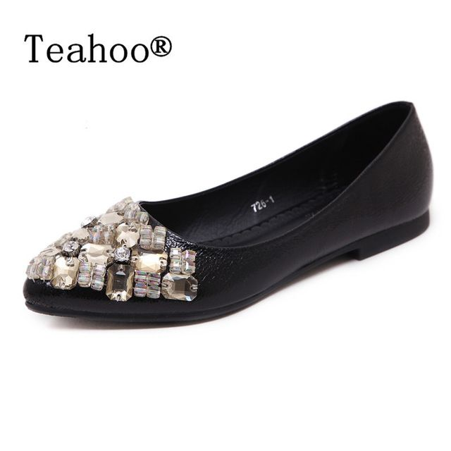 Cheapest Price $15.57, Buy Rhinestone Flats Shoes Woman 2017 Dress Flats Female Ballet Shoes PLUS SIZE 34-43 Comfort Rhinestones Casual Flats zapatos mujer