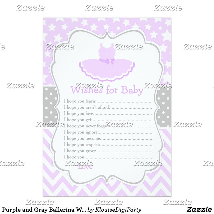 Purple and Gray Ballerina Wishes for Baby Advice Card