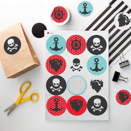 Pop up kemut Merirosvot tarra-arkki, ympyrä Ø 60 mm | Pirate theme party stickers