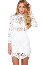 Белое Кружевное Мини-Платье С Высоким Горлом