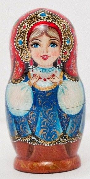 Matryoshka (Russian nesting doll) in a beautiful kokoshnik. #Russia #folk #art…