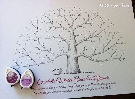 Hand Drawn Tree Custom Fingerprint Tree by AlgoArtStudio on Etsy