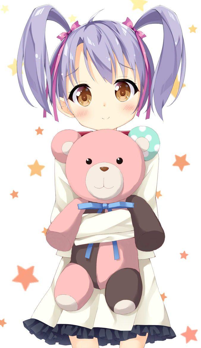 1girl brown_eyes kumamakura_kurumi maccha musaigen_no_phantom_world purple_hair short_hair smile solo stuffed_animal stuffed_toy teddy_bear twintails