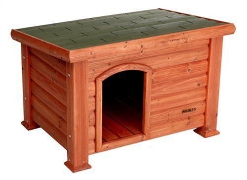Dog House Small Durable Solid Wood Slanted Roof Increased Shelter Log Exterior #PrecisionPet