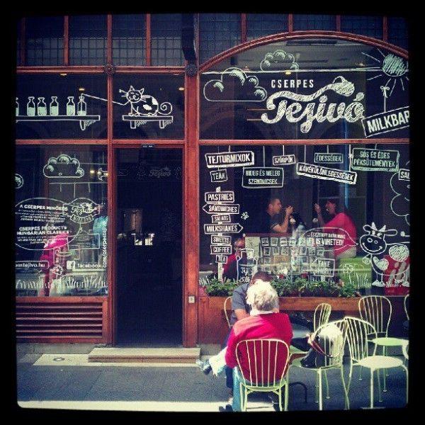 Cserpes tejivó a milk bar in Budapest.   Address: 1085 Budapest, Corvin köz 1117  or 1052 Budapest, Sütő utca 2.