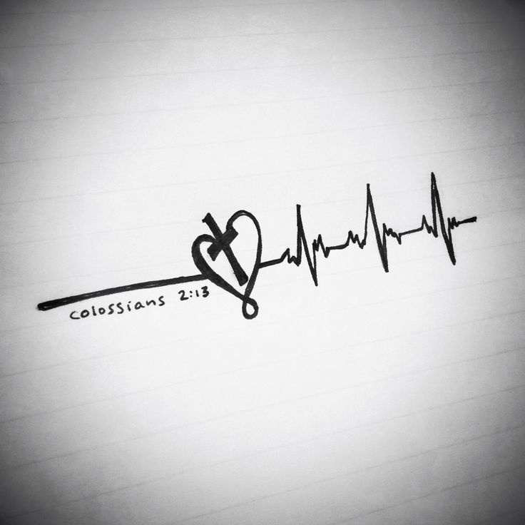 Tattoo idea, designed by me. Colossians 2:13, Romans 6:11  heartbeat, made alive in Christ, dead to sin