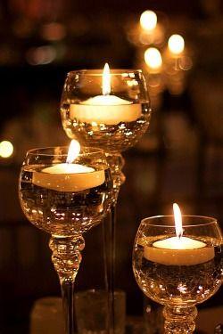 ~ Tea light votives in wine glasses ~