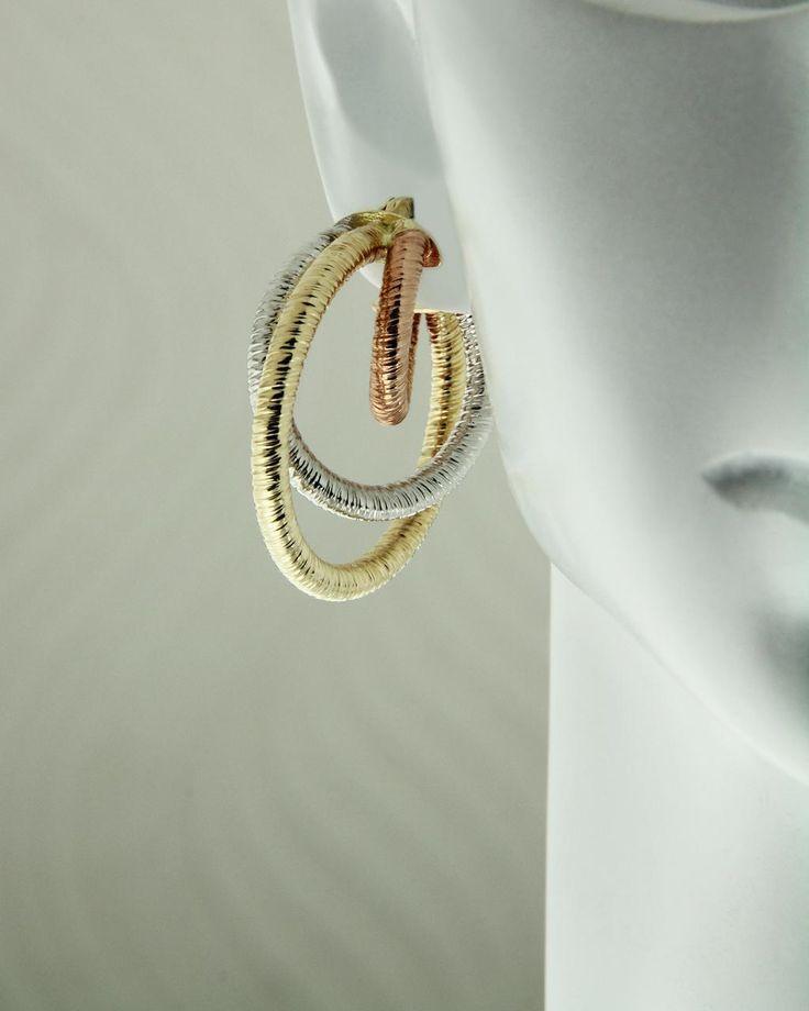 Σκουλαρίκια κρίκοι χρυσά Κ14 τρίχρωμα