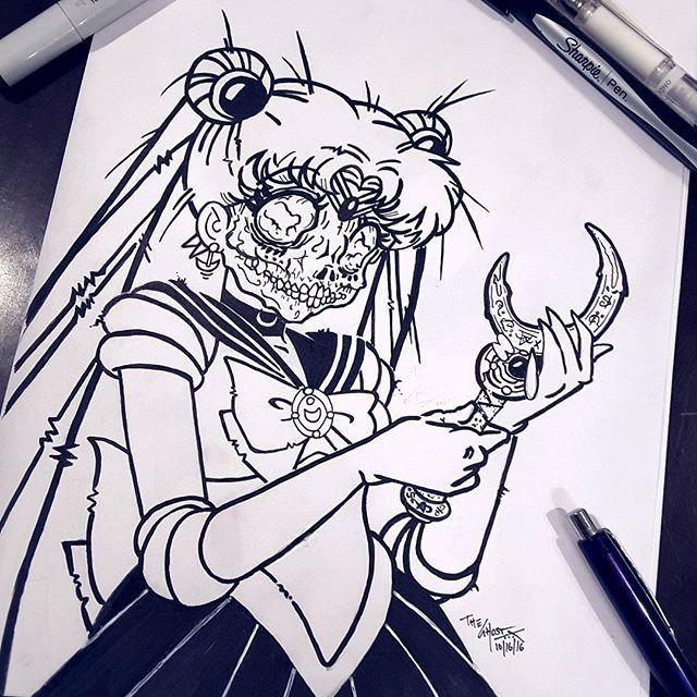 Dia de los Muertos Sailor Moon  Sailor Moon infection. Ink on paper by the Ghost Boo!! ⛤ #sailormoon #cartoonnetwork #magic #manga #serena #usagi #theghost #ghost #zombie #skull #streetart #urbanart #ink #texas #texasartist #monster #dead #monsterart #cartoon #art #illustration #magick #magic #witch #witches