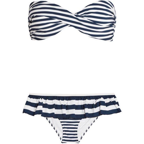 Dolce & Gabbana Ruffled striped bandeau bikini (£315) ❤ liked on Polyvore featuring swimwear, bikinis, ruffle bikini, frilly bikini, nautical bikini, bandeau swimwear and flounce bandeau bikini top